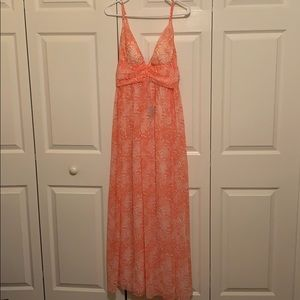 Beautiful coral and white maxi dress